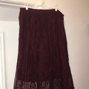 NWOT Target, Size Large, Midi Skirt, Merlot color